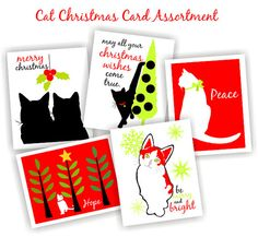 Cat Christmas Card Set featuring 5 adorable kitties your cat loving friends will love! This listing is for a five card assortment of Christmas cards