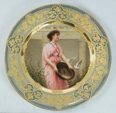 Royal Vienna Austrian porcelain portrait plate 'Doves of the Temple' (1280x1254)