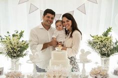 Guest oh Honor & Parents from an Elegant White Baptism Dessert Table via Kara's Party Ideas | KarasPartyIdeas.com (14)