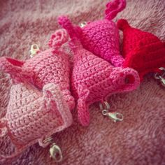 Gradient uterus babes. These ones have clips! Coming to my shop later this week unless you want to call dibs now.  #uterus #uterusesbeforeduderuses #cuterus #ombre #gradient #pink #feminism #feminist #feministsofinstagram #girlpower #girlgang #nastywoman #stillwithher #notmypresident #womenshealth #womensrights #womensmarch #crochet #amigurumi #madeinohio #mariettaohio