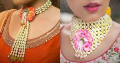 We Just Found The Newest Type of Floral Jewellery & Its Gorge! Flower Jewellery For Mehndi, Fancy Jewellery, Flower Jewelry, Handmade Jewellery, Bridal Earrings, Wedding Jewelry, Choice Fashion, Terracota Jewellery, Bridal Hair Buns