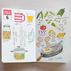 On #day37 a day for home cooking: a warming potaje with chickpeas cod and greens and a veggie tortilla for dinner.  #foodlog #fooddiary #fooddrawing #foodillustration #foodsketch #sketch_daily #sketchbook #fabercastell #moleskine #moleskinichi #urbansketchers #theydrawandcook by moleskinichi