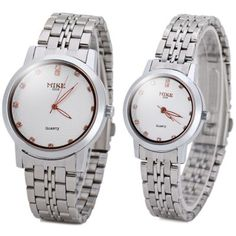 Stylish Couple Watch Analog with Diamonds Design Round Dial Steel Watch Band-14.32 and Free Shipping| GearBest.com