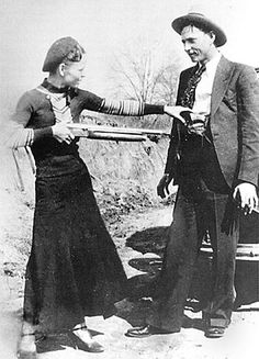 With Clyde Barrow, holding shotgun