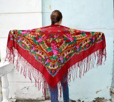 Vintage Ukrainian shawl Russian Scarf shawl red floral by bestLuba