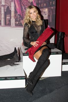 Sylvie Meis in Hamburg on October Celebrity Boots, Thigh High Boots Heels, Heeled Boots, High Leather Boots, Gorgeous Heels, Sexy Legs And Heels, Red Boots, Dress With Boots, Lady