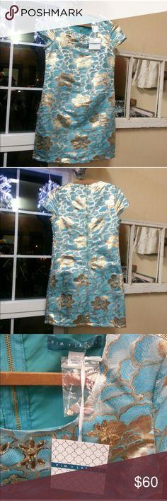 Pim & Larkin Cocktail Embroidered Shift Dress,NWT Gorgeous! Gold zipper down back. Jeweled embroidery. Pim & Larkin Dresses
