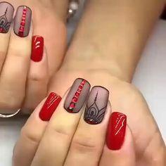 Diy Nails Manicure, Red Gel Nails, Lilac Nails, Red Nail Art, Pretty Nail Art, Classy Nails, Simple Nails, Cute Nails, Nail Swag