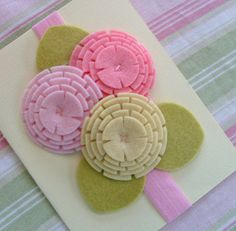 Cute and easy way to make felt flowers, finish it with a button.