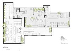 restaurant plan Gallery of Botanique Caf. Restaurant Layout, Modern Restaurant, Restaurant Design, Architecture Concept Drawings, Architecture Plan, Cafe Floor Plan, Floor Plans, Cafe Interior Design, Cafe Design