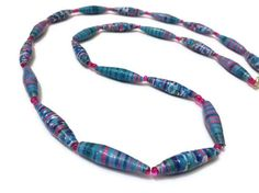 Blue and Pink Paper Bead Necklace Handmade by PurpleSmoothie, $15.95