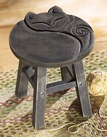 Carved Sleeping Cat Decorative Wooden Stool. to put towels on in the bathroom