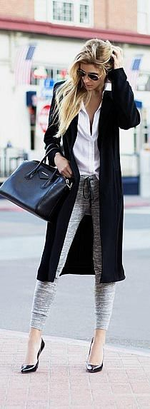 long cardigan and high heels