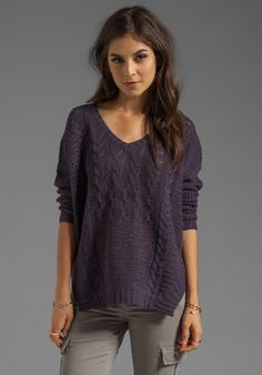 VELVET Nadya Patchwork Cable Loose V-Neck Sweater in Aubergine - Sweaters & Knits