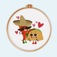 Mexican Food cross stitch pattern modern cross by ThuHaDesign