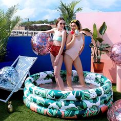 Splash in the water among tropical palms -- it's like your own private island getaway with this inflatable pool in your backyard. From Minnidip. Blow Up Pool, Pineapple Tumbler, Adult Pool, Mini Pool, Kiddie Pool, Beach Day, Summer Fun, Summer Pool, 6 Years