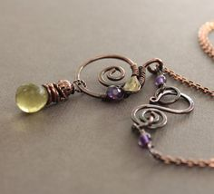 Copper necklace with light lemon quartz with amethyst and citrine accents with decorative hook clasp - Stone necklace - Pendant necklace. via IngoDesign on Etsy