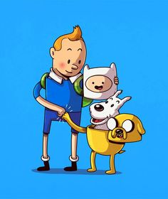 Tintin and Snowy with Finn and Jake Illustration by Alex Solis Iconic Characters, Cartoon Characters, Fictional Characters, Cultura Pop, Alex Solis, Bd Art, Chicago Artists, Cartoon Crossovers, Arte Pop