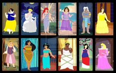 Plus Size Princesses with backgrounds by ColdHeartedCupid Alternative Disney Princesses, Plus Size Disney, Cinderella 2015, Disney Villains, Beautiful One, Christmas Carol, Cartoon Characters, Size Zero, Deviantart