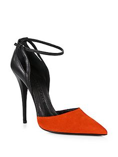 Narciso Rodriguez Bicolor Leather & Suede Ankle Strap Pumps