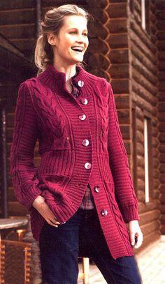 Теплое пальто (вязание спицами)