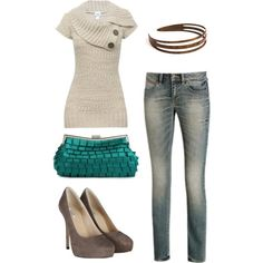 Not liking clutch or headband, but a cute casual fall outfit.