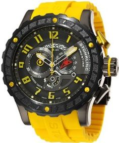 Stuhrling Prestige Men's Swiss Made Limited Edition Dreadnought Quartz Chronograph Yellow Watch Stylish Watches, Luxury Watches, Cool Watches, Watches For Men, Men's Watches, Mens Sport Watches, Casio Watch, Fashion Watches, Formal Shoes