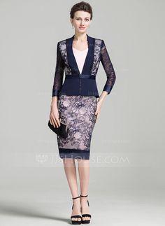 [US$ 106.99] Sheath/Column V-neck Knee-Length Lace Mother of the Bride Dress