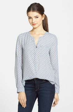 Pleione Print Split Neck Blouse (Regular & Petite) available at #Nordstrom