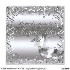 Silver Masquerade Mask Elegant Ball Birthday Party Card
