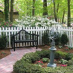 Lutyens bench, white picket fence, brick pavers, boxwood ~ PERFECT <3