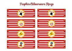 free circus birthday party printable napkin rings