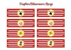 free circus birthday party printable napkin rings