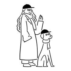 MEET UP ワンコと一緒に待ち合わせ #meetup #dog #girl #seijimatsumoto #松本誠次 #art #draw #graphic #illustration #イラスト #犬 #待ち合わせ
