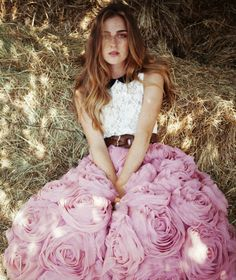 pink rosette puffy skirt