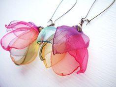 Flower Organza earrings - Fun idea!