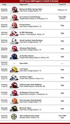 Texas A & M Aggies Football Team 2012 Schedule
