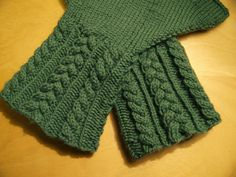Fingerless Gloves with Cabled Cuffs Knitting Pattern