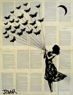 "Saatchi Online Artist Loui Jover; Drawing, ""butterflying (SOLD)"" #art"