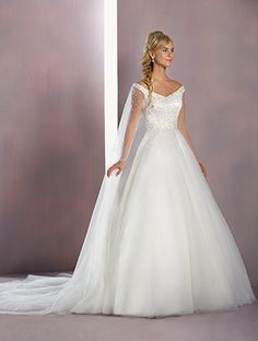 Alfred Angelo Elsa Style 258: satin and tulle ball gown wedding dress with shoulder straps and full length sheer sleeves, finished with Watteau train