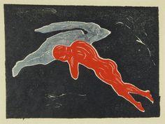 Edvard Munch - Begegnung im Weltall, Farbholzschnitt