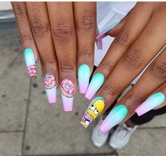 Try some of these designs and give your nails a quick makeover, gallery of unique nail art designs for any season. The best images and creative ideas for your nails. Acrylic Nails Natural, Summer Acrylic Nails, Best Acrylic Nails, Natural Nails, Summer Nails, Aycrlic Nails, Swag Nails, Coffin Nails, Weed Nails