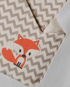 Little Fox Organic Baby Blanket with Gray Chevron- Single layer of organic knit - Gender Neutral