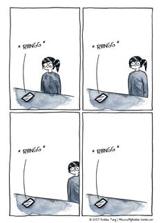 Me and phone calls… This comic is from my new book 'Quiet Girl in a Noisy World'. Out now from Andrews McMeel Publishing: http://debbietung.com/books