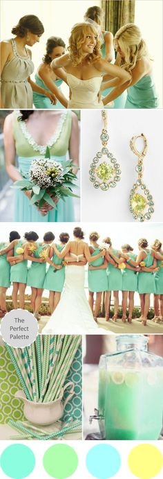 The perfect palette for a summer wedding: Shades of Mint, Green, Aqua + Yellow.