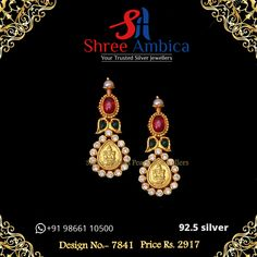 An absolute stunner in 92.5 silver and incandescent semi precious stones, this pair of earrings will make you come alive whenever you wear them. it's a solemn promise from Shree Ambica - Your Trusted Silver Jewellers. Pick this for the upcoming festive/wedding season. Readily available in stock For Price and Details Message on - +919866110500 #ShreeAmbica #tustedJewellers #SilverJewellery #indianbride #indianwedding #handcraftedjewellery #finejewellery #weddingsutra Silver Jewelry, Fine Jewelry, Indian Earrings, Wedding Sutra, Temple Jewellery, Wedding Season, Handcrafted Jewelry, Jewels, Handmade Chain Jewelry