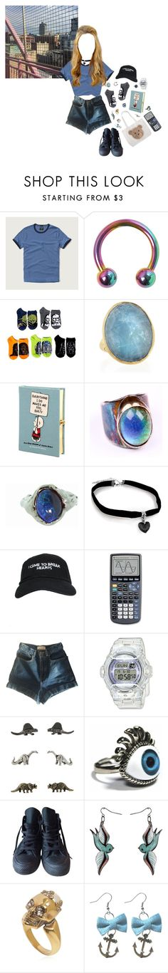 """""""You're giving me a feeling in my head"""" by queenofrocknroll ❤ liked on Polyvore featuring Abercrombie & Fitch, Marco Bicego, Olympia Le-Tan, Jessie Yeager, Lucifer Vir Honestus, Nasaseasons, American Apparel, Baby-G, CO and Converse"""