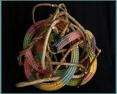 Hide and Retreat is a freestanding woven sculpture by basket artist Tina Puckett of Winsted, CT