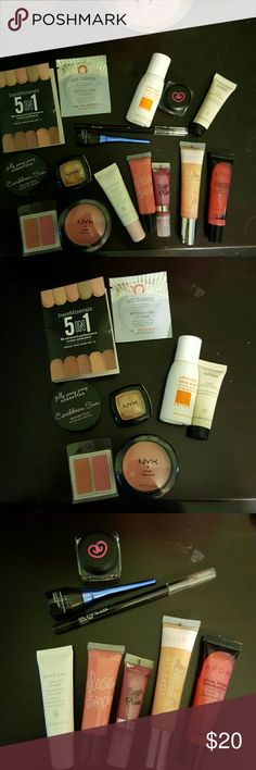 ⚠SALE TODAY ONLY⚠Ipsy + other makeup Jelly pong- Caribbean sun bronzer, coastal scents forever blush, NY Rouge cream blush and champagne eyeshadow, Lather face wash, Aveda exfoliating shampoo, Mary Kay lip balm, Glamor Dolls gloss snob Twirl, bodycolor shimmer gloss Sugar Plum, City Color white gold eyeshadow, Julep lip Luxe Sheer Coral and gel eyeliner Rich Brown, Avon lip juice Juicy Cherry and Electric Blue liquid eyeliner, and bare minerals and first aid beauty samples.  All new, unused…