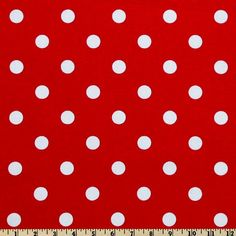 POLKA DOT LIPSTICK RED WHITE Home Decor Fabric    1/2 yard or more    OTHER CUTS of THIS FABRIC - yards - half yards - fat quarters,